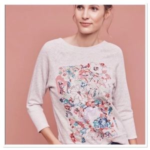 Anthropologie Embroidered Sweatshirt